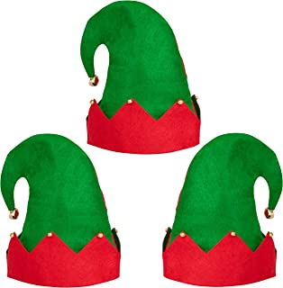 Moon Boat 3Pack Christmas Elf Felt Hat - Jingle Bells Xmas Holiday Party Costume Favors Gifts Accessoriess