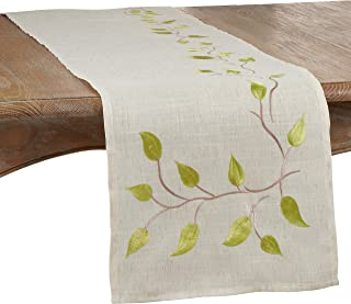 "SARO LIFESTYLE Vineland Collection Embroidered Vine Table Runner, 16"" x 72"", Natural"