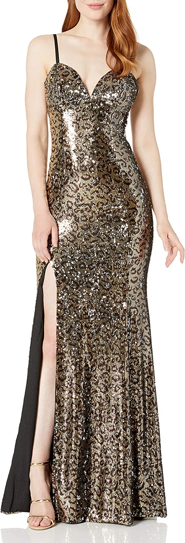 Dress the Population Women's Alejandra Sleeveless Long Stretch Gown with Slit, Gold Leopard Multi, L
