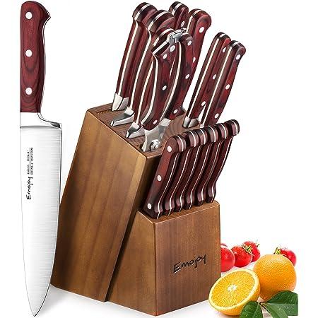 Emo joy Bloc de Couteaux, 15 Pièces Set Couteaux de Cuisine, Ensemble de Couteaux Professionnels, Couteaux de Chef avec Bloc en Bois, Allemand Acier Inoxydable, Support en Bois pour la Cuisine