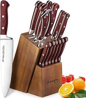 Emojoy Bloc de Couteaux, Set de Couteaux de Cuisine 15 Pièces, Ensemble de Couteaux Professionnels en Acier Inoxydable ave...