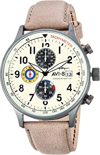 Men's AV-4011 Hawker Hurricane Analog Display Japanese Quartz Watch with Leather Band