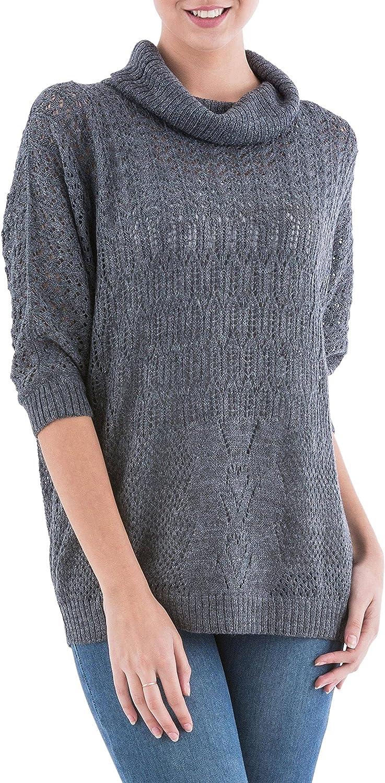 NOVICA Grey Alpaca Quarter Length Sleeves Pullover Sweater, Evening Flight'