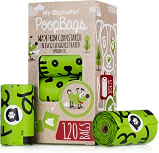 My AlphaPet Compostable Dog Poop Bags - Cornstarch Earth Friendly - EN 13432 Highest Rated - 120ct 8 Unscented Refill Rolls - Large Size 9 x 13 Inches - Leak Proof Doggie Waste Bags (120ct, Green)
