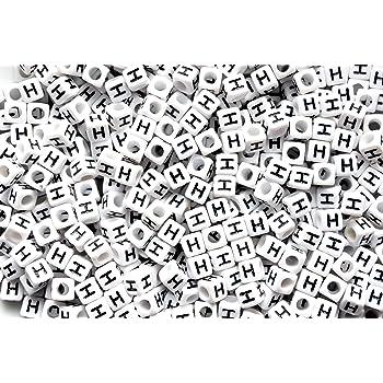 100pcs 6mm CUBE Blanc mixte perles acrylique lettre alphabet