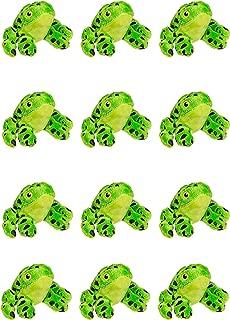 Wildlife Tree 12 Pack Green Dart Frog Mini 4 Inch Small Stuffed Animals, Bulk Bundle Zoo Animal Toys, Jungle Safari Party Favors for Kids