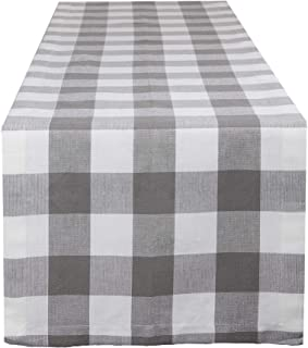 Lings moment Premium Cream Plaid Table Runner Double-Sided Buffalo Check Plaid Design for Elegant D/écor Indoor/&Outdoor Events,White and Cream(12 W x 72 L)