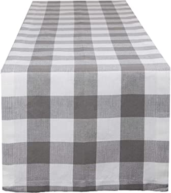DII Buffalo Check Collection Classic Tabletop, Table Runner, 14x108, Gray & White