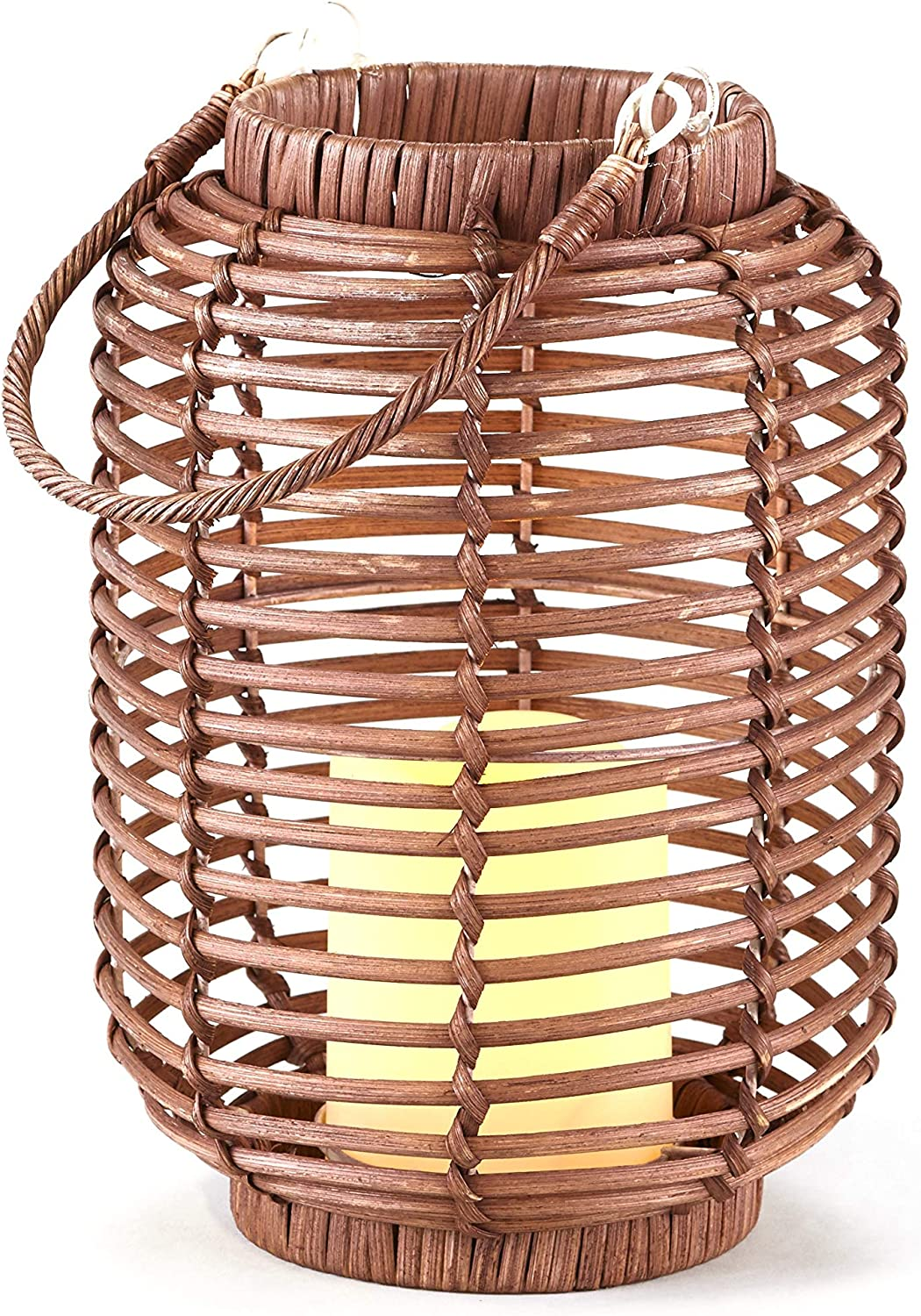 The Lakeside Collection Wicker and High quality Candle Lantern LED Limited time trial price Rattan wit