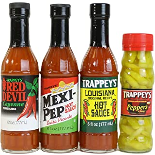 Trappey's Hot Sauces - Mexi-Pep, Red Devil, Louisiana (6 Oz Ea) and Peppers in Vinegar (4.5 Oz) - 4 Pack Variety