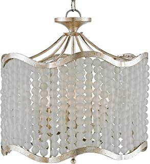 Kathy Kuo Home Edisto Hollywood Regency Style White Beaded 6 Light Chandelier
