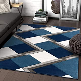 Well Woven Naya Blue Modern Geometric Diamond Boxes Pattern Area Rug 5x7 (5'3