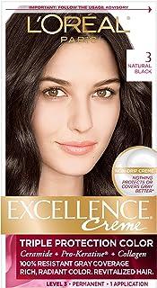L'Oréal Paris Excellence Créme Permanent Hair Color, 3 Natural Black (1 Kit) 100% Gray Coverage Hair Dye
