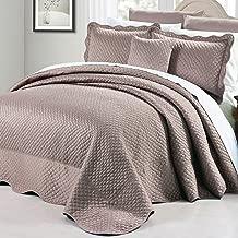 Serenta Matte Satin 4 Piece Bedspread Set, Queen, Taupe