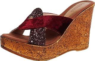 Catwalk Women's Glitter Strap Velvet Wedges Brown Fashion Sandals