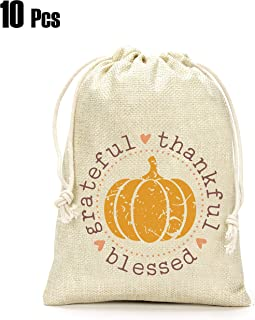 Thanksgiving Day Gifts Bags- Grateful Thankful Blessed Gift Bags, Pumpkin Gift Bag, Thanksgiving Day Decoration, Holiday Supplies- Set of 10