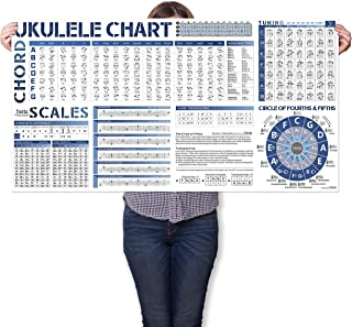 Ukulele Reference Chart Poster of Ukulele Chords | Scales | Tune | Circle of Fifths Wheel and Music Theory, Large Ukulele ...