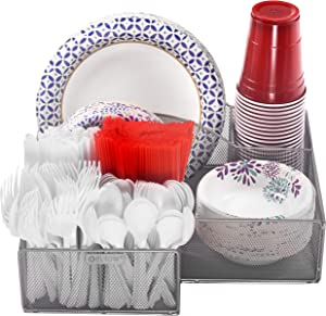 Eltow Silver Plate and Cutlery Organizer: Large Kitchen Spoon, Fork, Knives and Cups Holder - Sturdy Bowl, Napkin and Tableware Dispenser - Home, Restaurant, BBQ and Picnic Plate Organizer Caddy