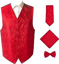 Men's 4pc Paisley Design Formal Tuxedo Dress Vest Necktie Bowtie Handkerchief Set