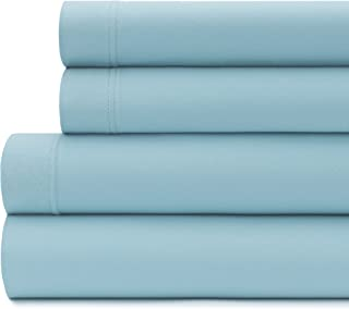 (Twin, Blue) - Briarwood Home 150 GSM Solid Jersey Deep Pocket Bed Sheet Set, 100% Soft & Stretchy Jersey Cotton Bed Sheet...