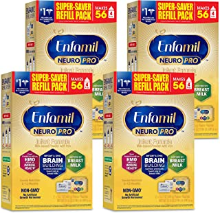 Enfamil NeuroPro Infant Formula- Brain Building Nutrition Inspired by Breast Milk, Milk Powder Refill, 31.4 ounce - MFGM, Omega 3 DHA, Prebiotics, Iron & Immune Support, Pack of 4 (Packaging May Vary)