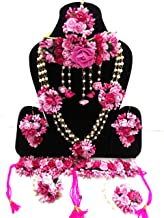Naazz Flower Jewellery Set for Haldi Baby Shower Mehendi Godbharai Pink Paper Set for Women and Girls