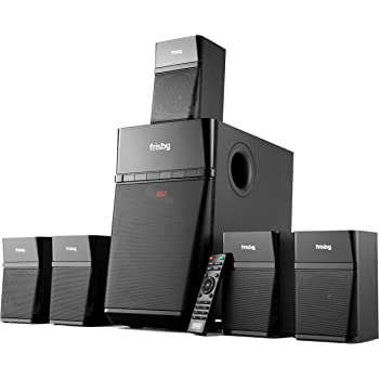 Frisby Audio FS-7000BT Home Theater 5.1 Surround Sound System with Subwoofer, Bluetooth Wireless Streaming from Devices & Media Reader, FM Radio, Remote Control, Digital Optical Output, Black