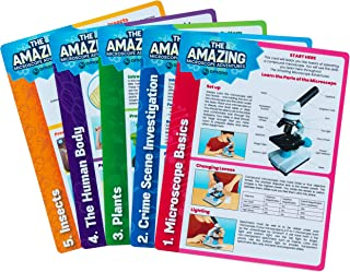 """Omano Microscope Experiments and Science Activities for Kids """"The Amazing Microscope Adventures"""" (5-Card Pack) Book Alternative, Home, Classroom DIY Scientific Learning"""
