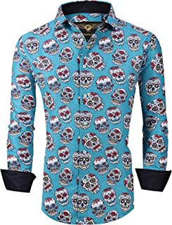 Premiere Mens Sugar Skull Shirt Long Sleeve Button Down Designer Dress Untucked