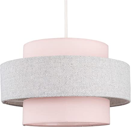 Modern Cylinder Ceiling Pendant Light Shade in a Pink & Grey Herringbone Finish