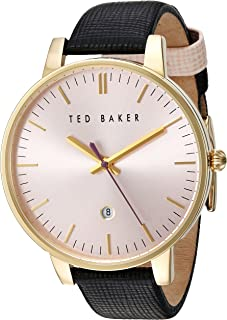 Ted Baker Women's Classic Stainless Steel Japanese-Quartz Watch with Leather Strap, Pink, 16 (Model: 10030740)
