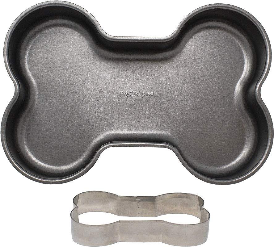 PreOkupied Dog Bone Cake Pan Including Dog Bone Cookie Cutter Dark Grey Carbon Steel 30 5 X 21 6 X 5 1 Cm