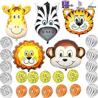 "Safari Jungle Zoo Huge Animal head Balloon Jumbo Balloons Zebra, Tiger, Lions, Giraffe & Monkey with 20pcs 11"" latex Safari Print Party Supply"