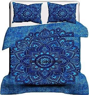 Janki Creation Exclusiva Funda de edredón India con diseño de Mandala Ombra y teñido, Colcha Bohemia, Ropa de Cama de Mandala, Colcha Hippie Hippy, Doona 228,6 x 218,6 cm, Tapiz de Reina