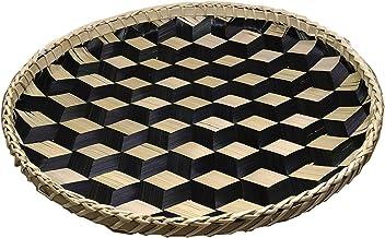 Ann Lee Design Handmade Round Basket Tray Extra Large – 14.02 x 14.02 x 0.98 Inches (Black)