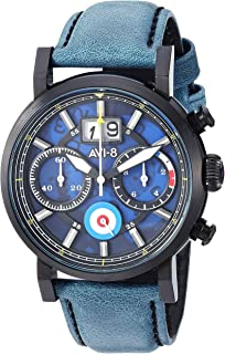 Men's 'Hawker Hurricane' Quartz Stainless Steel and Leather Casual Watch, Color