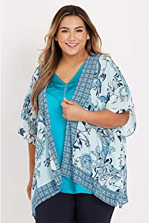 Beme Elbow Sleeve Short Kimono Blue Paisley L/XL - Womens Plus Size Curvy