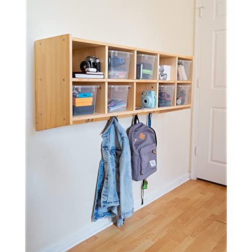Superieur Sleekform Wooden Wall Mounted Hanging Shelf | Includes 10 Bins, 5 Double  Coat Hooks |
