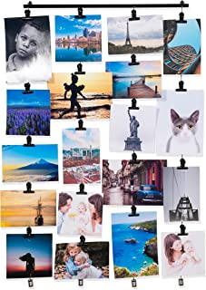 Hanging Picture Display Photo Holder with 4 Metal Cable Strings and 20 Magnetic Clips Metal Black