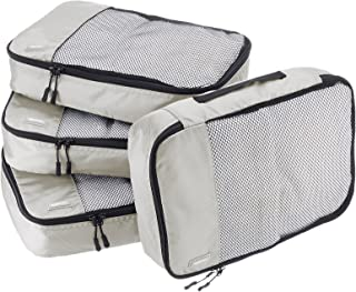 AmazonBasics 4-Piece Packing Cube Set - Medium, Gray