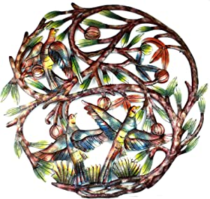 "Global Crafts 24"" Recycled Hand-Painted Haitian Metal Wall Art Tree of Life, Tree with 3 Birds"