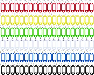 Key Tag 120 Pcs Assorted Color Plastic Coded Key ID Label Tags Split Ring Keyring - with Label Window Ring Holder