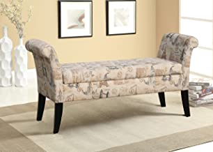 Baxton Studio Wholesale Interiors Avignon Towers-Patterned French Laundry Fabric Storage Ottoman Bench