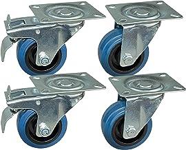 4 stuks transportwielen in een set van 80 mm, blauwe wielen, wielen met rem van het merk HRB, zware wielen met max. 520 kg...