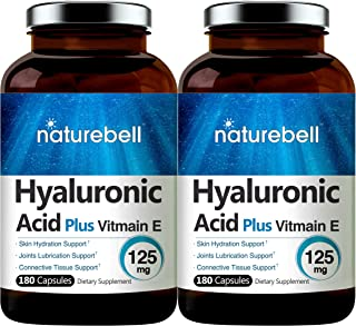 Maximum Strength Hyaluronic Acid Capsules with Vitamin E, 100mg,180 Counts, Powerfully Supports Antioxidant, Skin Hydratio...