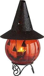 Blissun Glass Pumpkin Tea Light Candle Holder for Halloween Decorations
