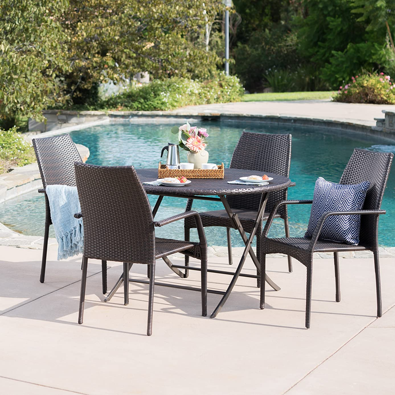 Knightley Outdoor 5 Piece Multi-Brown Wicker Dining Set with Foldable Table and Stacking Chairs