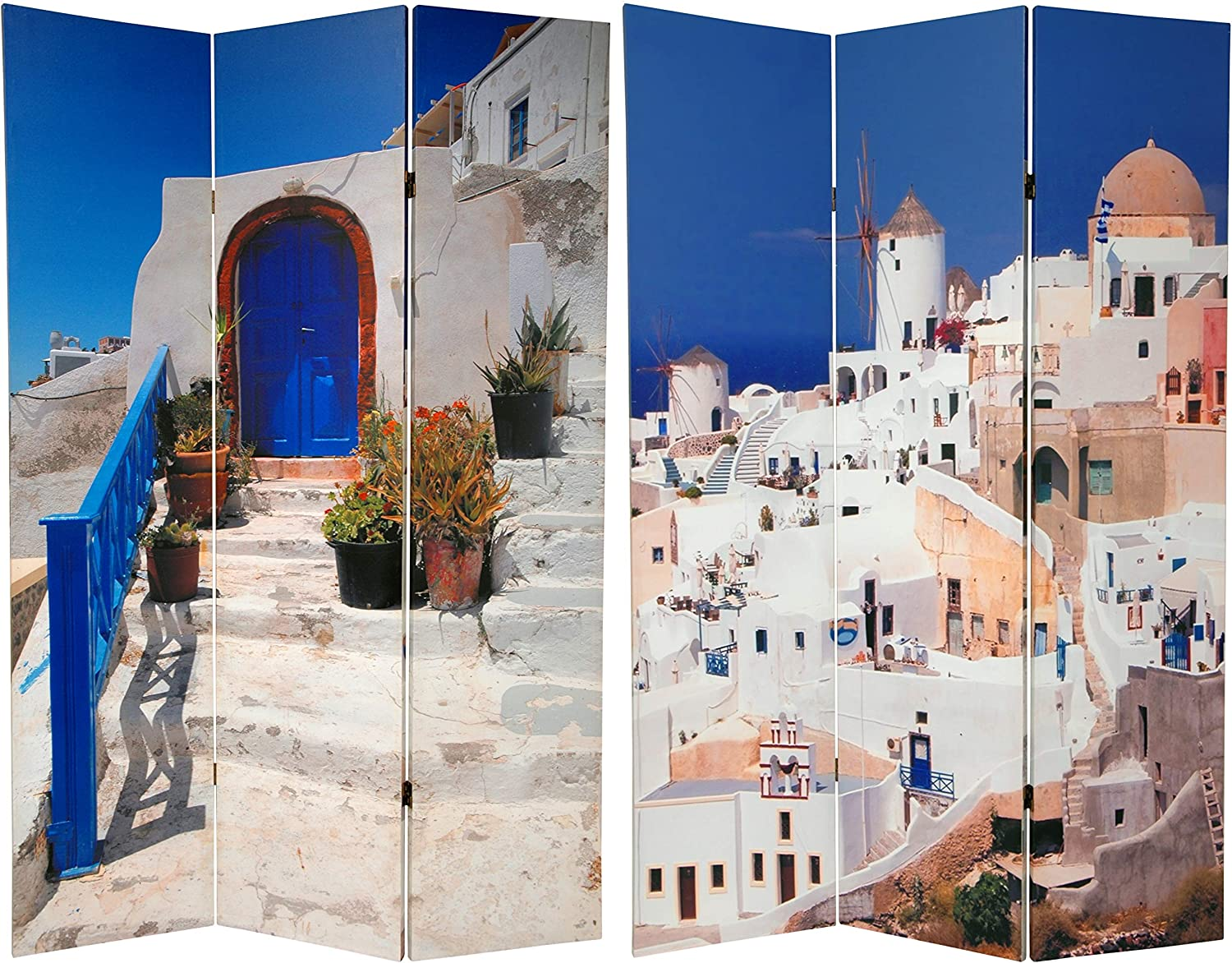 2021 Oriental Furniture 6 ft. Tall Santorini Double Sided Mail order cheap Room Greece