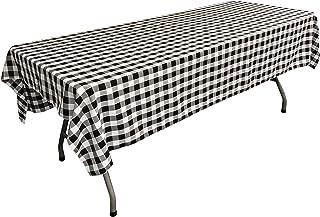 "LA Linen Polyester Gingham Checkered Rectangular Tablecloth, White/Black, 60"" x 84"""