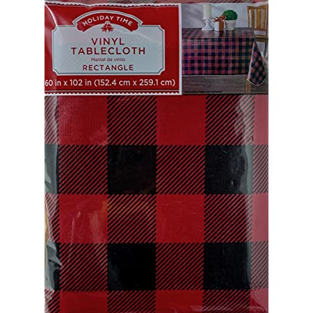 Harvest Fall Autumn Tablecloth Black White Buffalo Check PEVA 60 X 102 rectangle